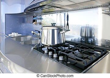 синий, серебряный, кухня, современное, архитектура, украшение