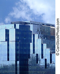 синий, стакан, здание