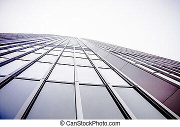 синий, стена, абстрактные, стакан, небоскреб, building.