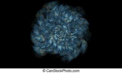 синий, цветок, фантазия, водоворот, цветение, шаблон