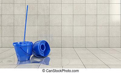 синий, швабра, ведро, уборка