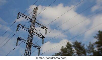 синий, электрический, sky., упущение, столб, время