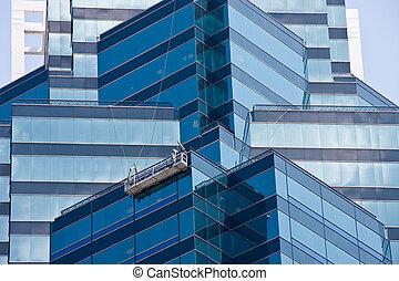 синий, angled, строительные леса, стекло, walls, washers