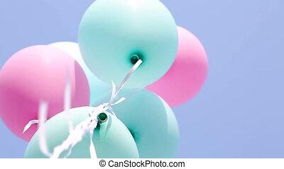 синий, balloons, небо, задний план