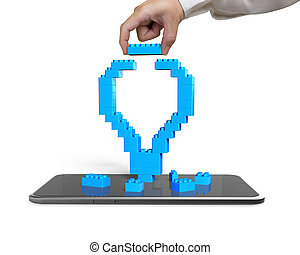 синий, lightbulb, смартфон, полный, рука, держа, блок