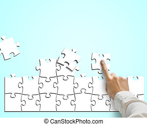 синий, puzzles, assembling, задний план, рука