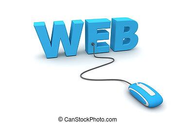 синий, web, мышь, -, просматривать