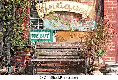 скамейка, в, античный, магазин