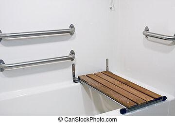 скамейка, сиденье, на, гандикап, ванна
