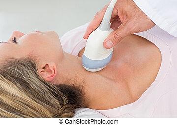 сканирование, ультразвук, женщина, получение