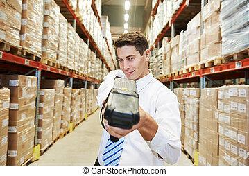 склад, barcode, работник, сканер, человек