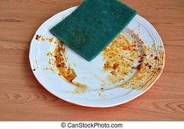 скраб, питание, губка, мыть, зеленый, пятно