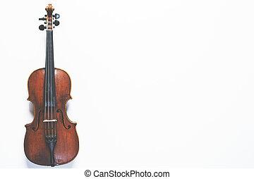 скрипка, длина, полный, белый, задний план