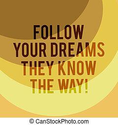 следовать, бизнес, пространство, dreams, копия, плакат, фото, web, письмо, way., показ, мотивация, design., вдохновение, получить, oни, дуга, успех, multi, заметка, знать, ваш, showcasing, presentations, тон, слоистый