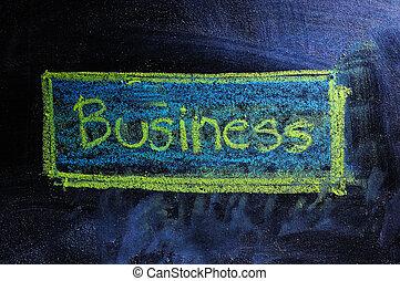 слово, бизнес, классная доска, мел, белый, ;, рукописный