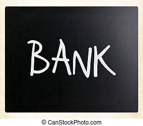 """слово, классная доска, мел, """"bank"""", белый, рукописный"""