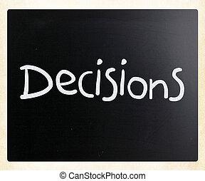 """слово, классная доска, мел, """"decisions"""", белый, рукописный"""