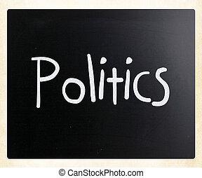 """слово, классная доска, мел, """"politics"""", белый, рукописный"""