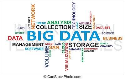 слово, облако, -, большой, данные