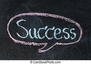 слово, успех, классная доска, мел, белый, рукописный