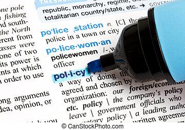 """, слово, """"policy"""", выделенный"""