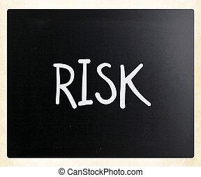 """слово, """"risk"""", мел, классная доска, белый, рукописный"""