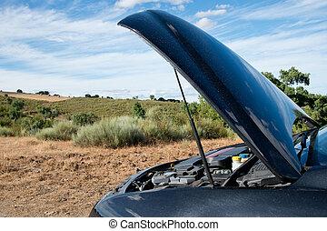 сломанный, вниз, автомобиль