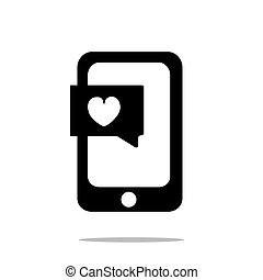 смартфон, with, сердце, чат, значок, квартира, стиль, isolated, на, белый, задний план, для, ваш, веб-сайт, дизайн, логотип, приложение, ui., иллюстрация