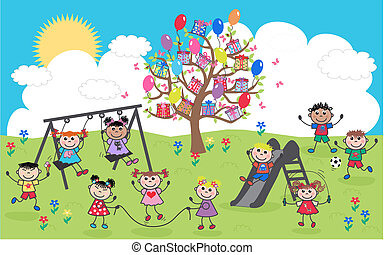 смешанный, этнической, children, счастливый