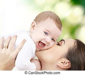 смеющийся, детка, playing, with, мама