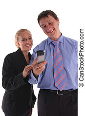 смотреть, мобильный, бизнес-леди, телефон, 4, businessmen