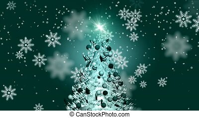 снег, falling, на, рождество, дерево