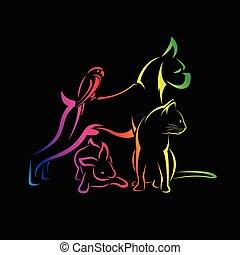 собака, группа, pets, кот, -, птица, isolated, вектор, черный, задний план, кролик