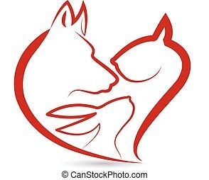 собака, кролик, логотип, кот, heads