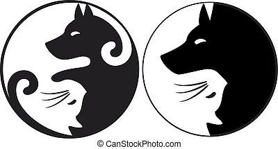 собака, символ, инь, кот, вектор, янь