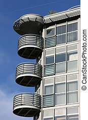 современное, архитектура, балкон