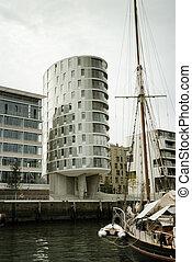 современное, архитектура, в, hafencity, гамбургские, германия