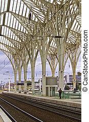 современное, архитектурный, дизайн, of, поезд, станция