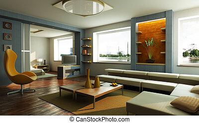 современное, гостиная, комната, интерьер
