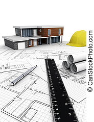 современное, дом, строительство