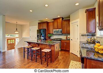 современное, комната, счетчик, tops, cabinets, роскошь, гранит, кухня