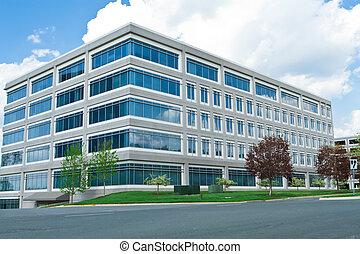 современное, куб, фасонный, офис, здание, стоянка, много,...