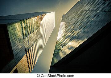 современное, манхеттен, архитектура