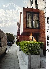 современное, современный, дерево, sided, здание