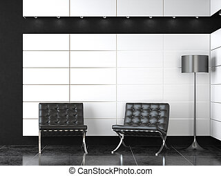 современное, черный, прием, интерьер, дизайн, белый