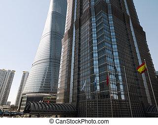 современное, skyscrapers, шанхай, китай