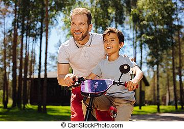 содержание, папа, обучение, his, сын, к, поездка, , велосипед