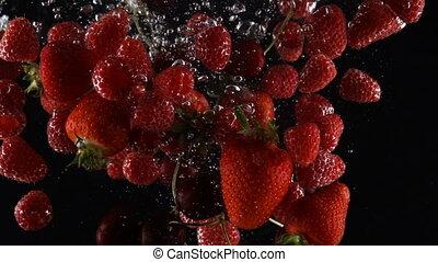 созревший, falls, воды, смешивание, черный, задний план, berries