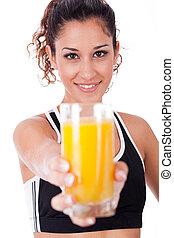 сок, девушка, свежий, показ, фитнес, фокус
