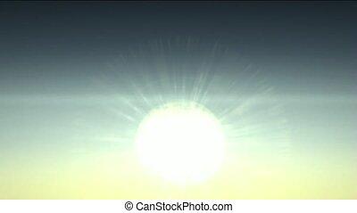 солнечный лучик, в, рассвет, небесный